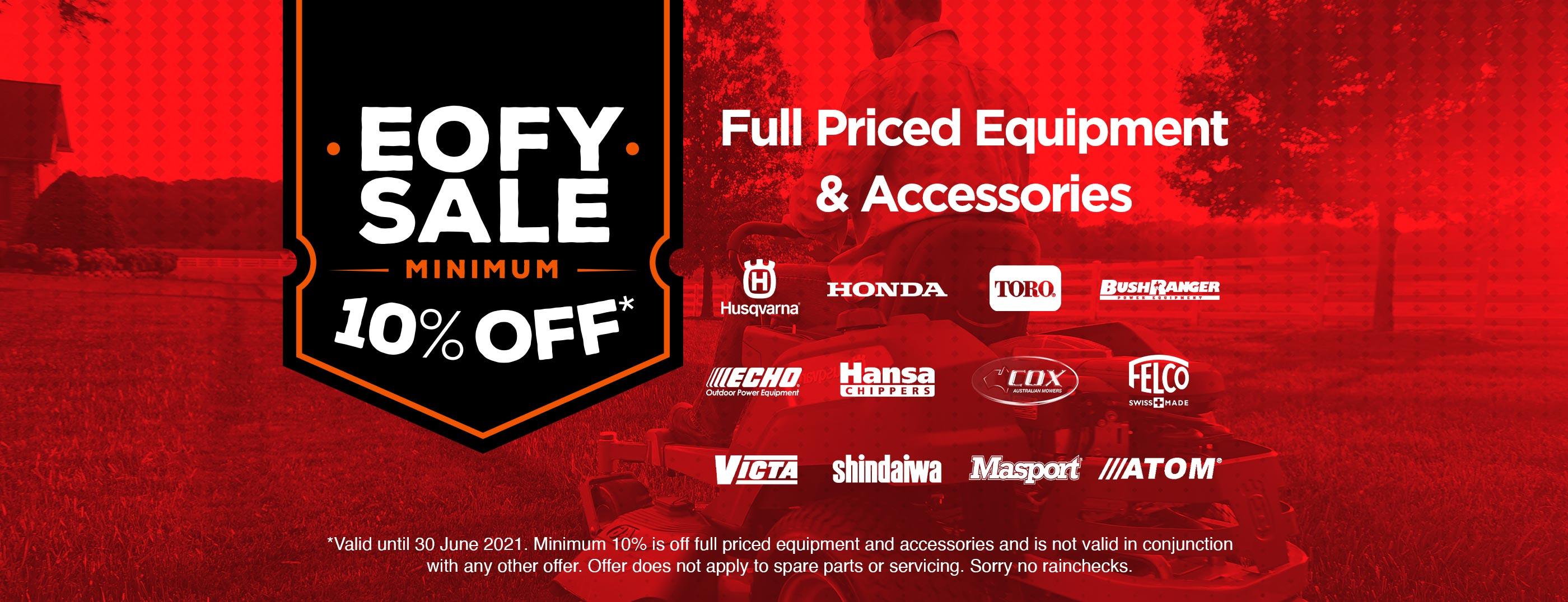 EOFY Sale, Minimum 10% Off Full Priced Equipment & Accessories