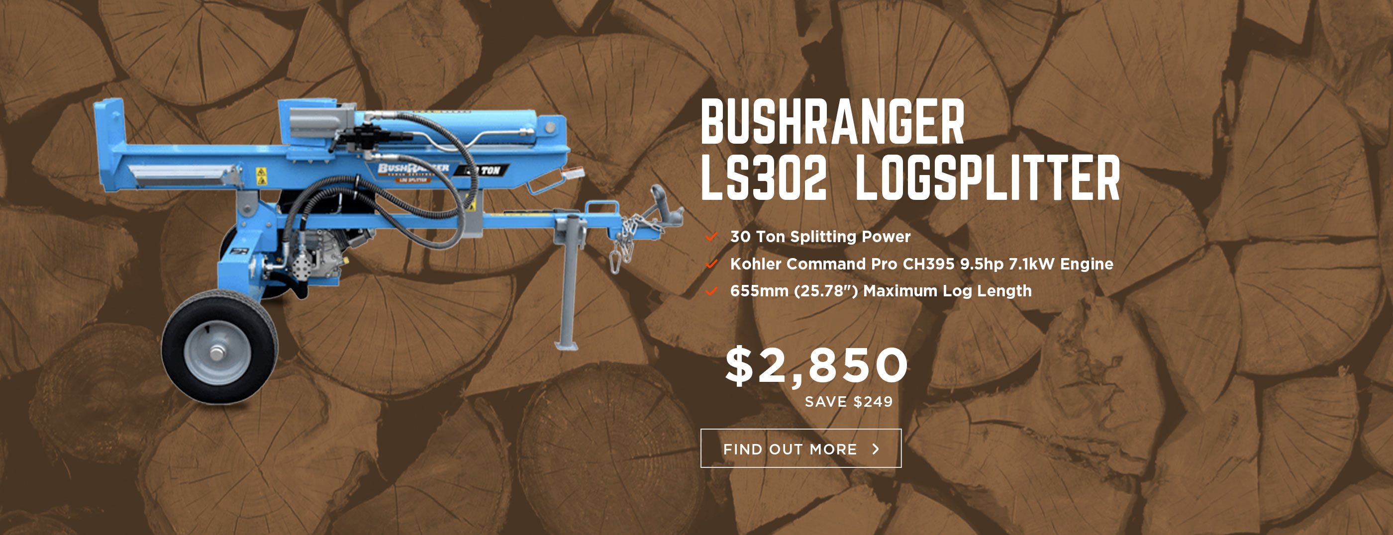 BushRanger 30 Ton Log Splitter with Bonus Chainsaw for a Limited Time only!