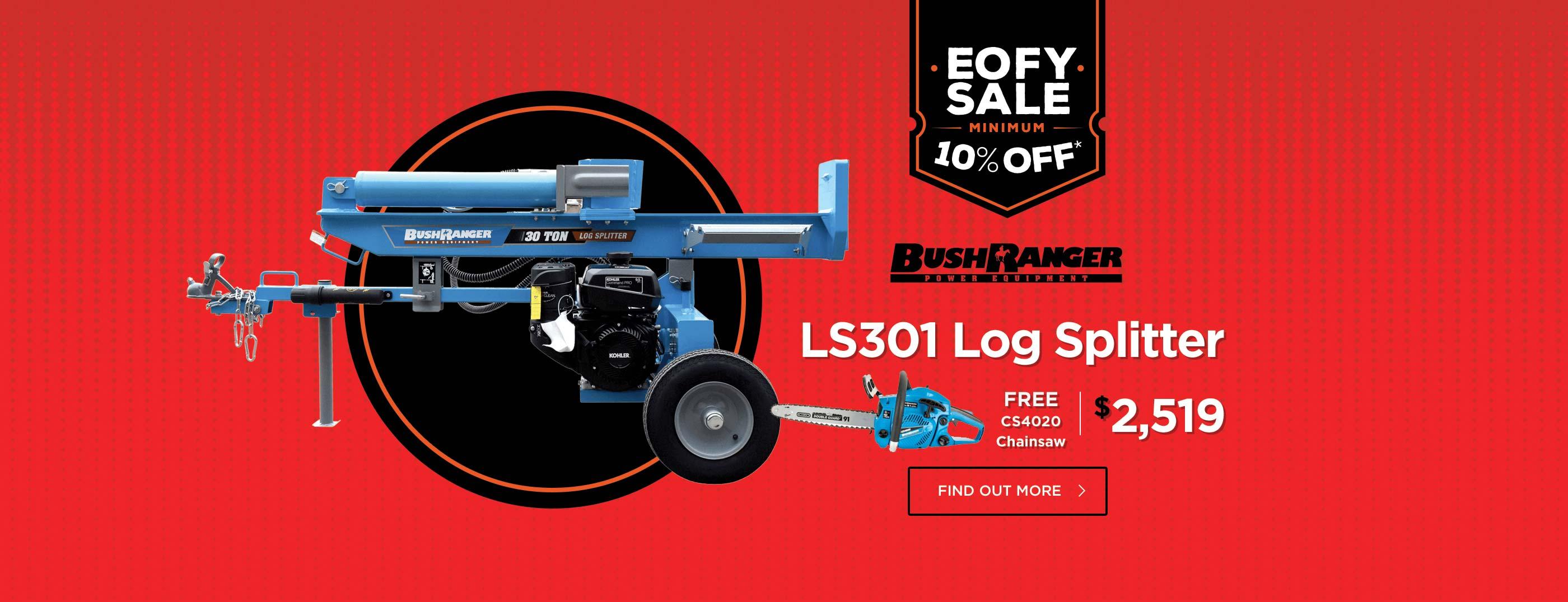 BushRanger 30 Ton Log Splitter with Bonus Chainsaw now only $2,519!